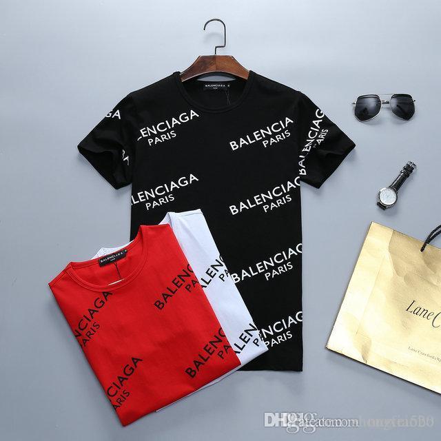 2019 Rampo / Rampo homens de manga curta T-shirt branca tarja top bottom camisa em torno do pescoço de manga curta T-shirt moda roupas PO022