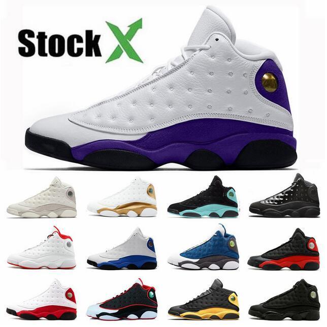 13 Il inverse Got Game Jumpman 13s Chaussures Hommes Basketball LUCKY GREEN élevés chapeau et robe de chat noir PURPLE COURT Sneakers