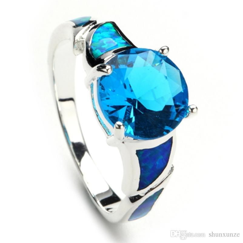 Shunxunze Charm Punk Trouwringen Sieraden Accessoires voor Dames Blauw Opaal en Blauw Cubic Zirkonia Rhodium Plated R117 Maat 6 7 8 9