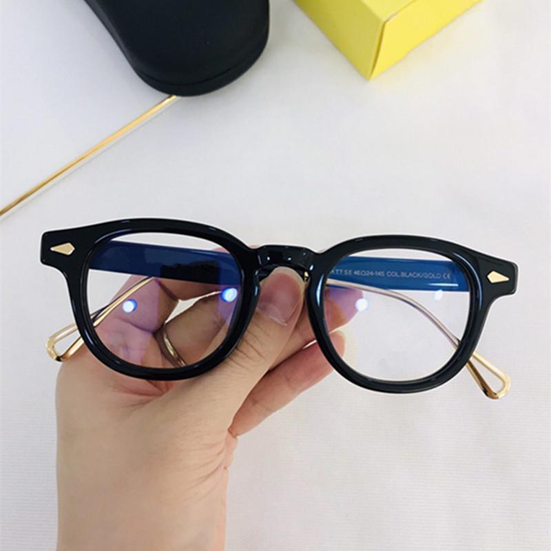 Reçete için en-Kalite Johnny Depp Retro-vintage gözlükler Çerçeve Unisex 46-23-145 İthal Plank-Titanyum Bacak fullset durumda Glasses