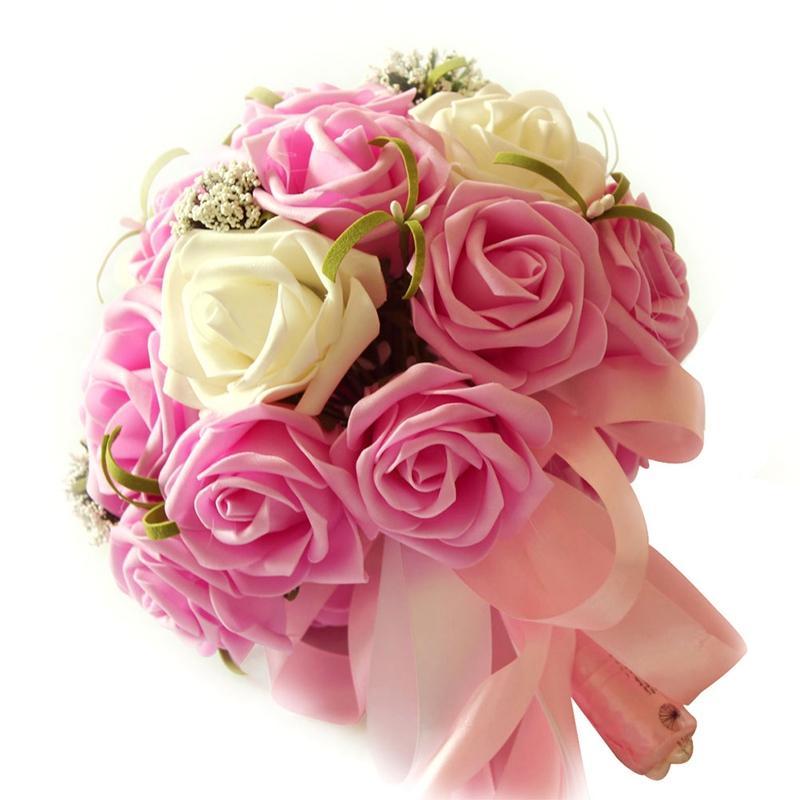 Decor 50pcs Rose flores artificiais espuma Rose Cabeça de Flor Bouquet noiva Bouquet do partido
