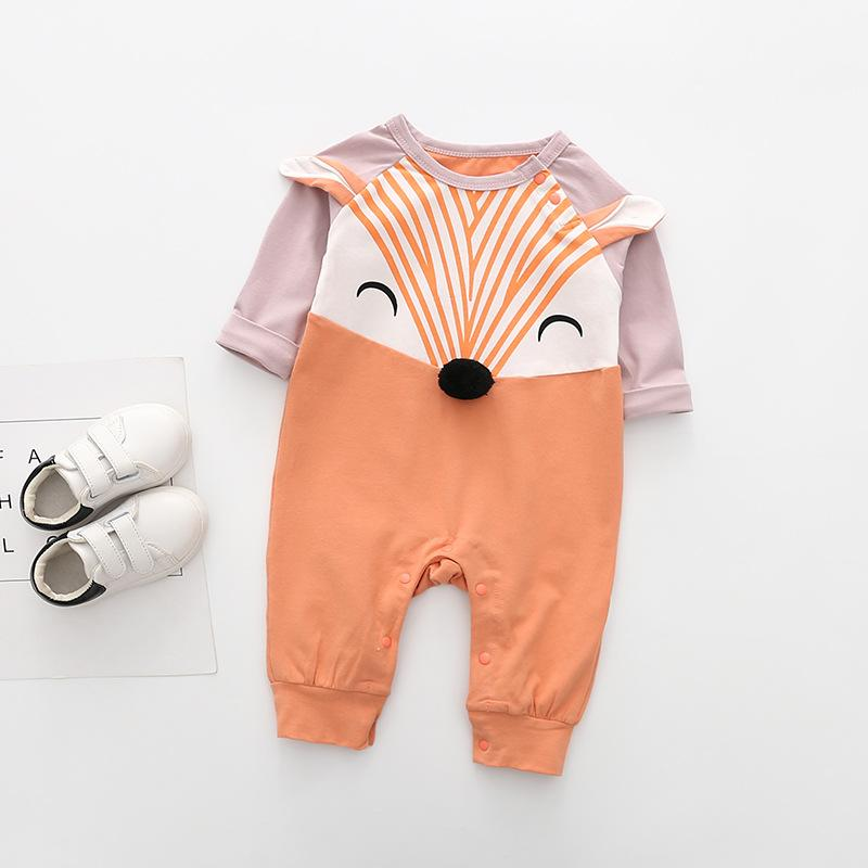 Baby Boy Girl Romper Unisex Recém-nascidos Criança Fox Bonito Romper Outono Macacão Manga Longa Sunsuit