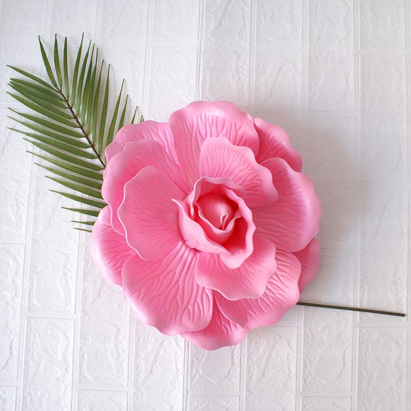 Giant PE Foam Rose Artificial flower Wedding Decoration Background Wall Flat Bottom Rose Stereo Fake Flowers for Home decoration accessories