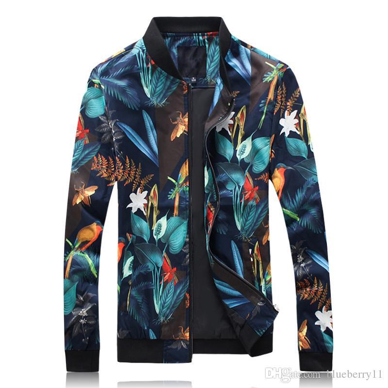 Vêtements d'extérieur Vestes Hommes Vêtements hawaïenne Floral La fibre d'acétate Streetwear coupe-vent Hommes Hip Hop Slim Casual Flower Imprimer