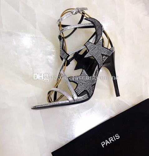 [Original Box] Neue Damen High Heels 10.5CM Sandalen Damen Slingbacks Schlangenleder Bandage Star Diamond Schuhe 35-41
