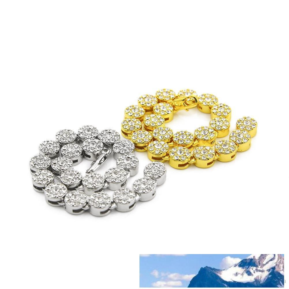 Homens 2 cores para fora congelado Pedrinhas europeus e americanos populares diamante 8inch Cadeia pulseira flor Bling Bling