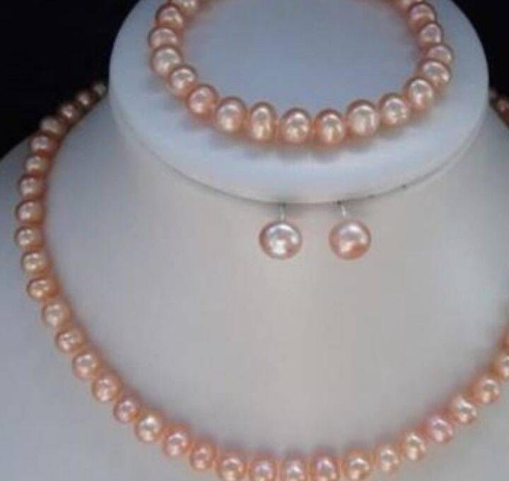 jewelr FREE SHIPPING8-9mm Pink Akoya Pearl Necklace Bracelet Earring Sets CBB25 (A0423)