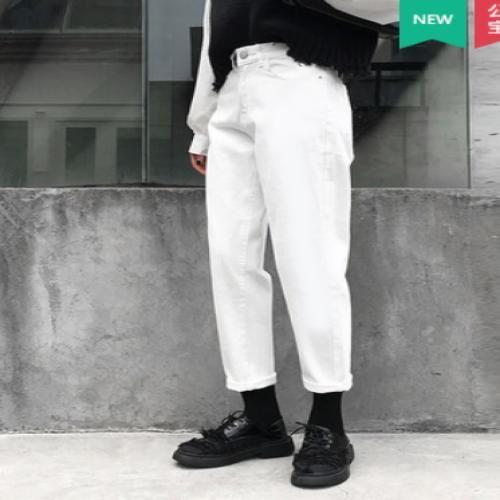 Die Weiß Weiß Jeans Frauen zeigen hohe Taille lose neun gerade Harlan Punkte breitbeinig