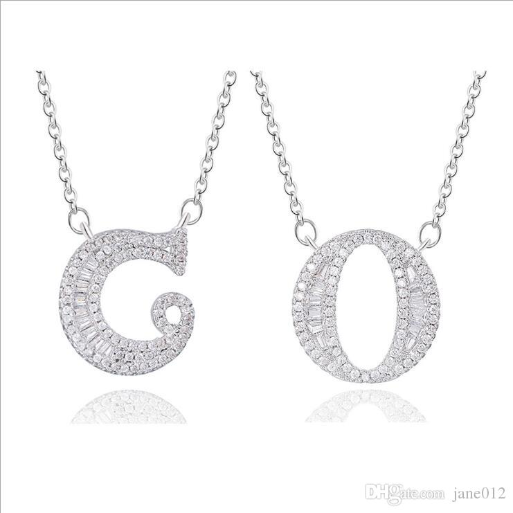 Silver Letter Pendant Necklaces Mix Alphabet A to Z Rhinestone Chokers for Women Korean Style Fashion Jewelry Wholesale