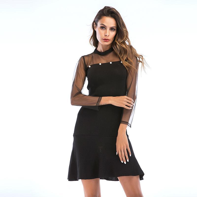 Mulher designer solto e malha elegante costura magro hem fino vestido de saia de babados feminino verão