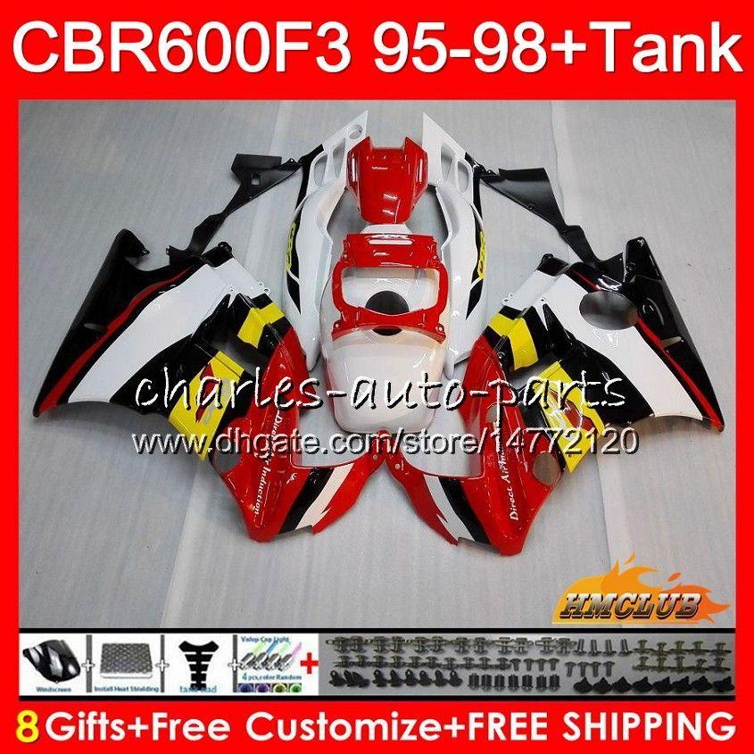 Body + Tank für HONDA CBR 600F3 600cc CBR600 F3 95 96 97 98 41HC.21 CBR 600 FS F3 CBR600FS CBR600F3 1995 1996 1997 1998 Fairing rot gelb