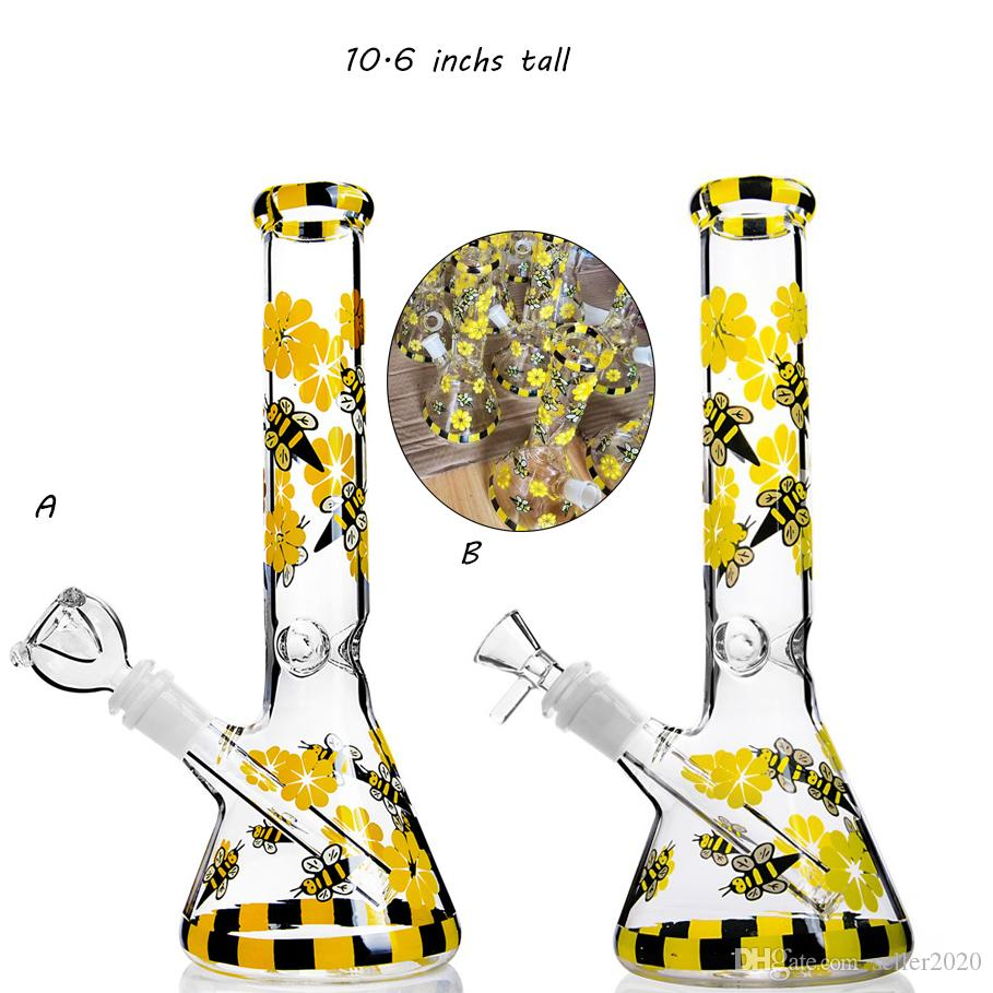 10.6 inchs Tall Bong Glass Bubbler Downstem Perc Heady Glass Dab Rigs Yellow Bee Hookahs Unique Bong With 14mm Joint