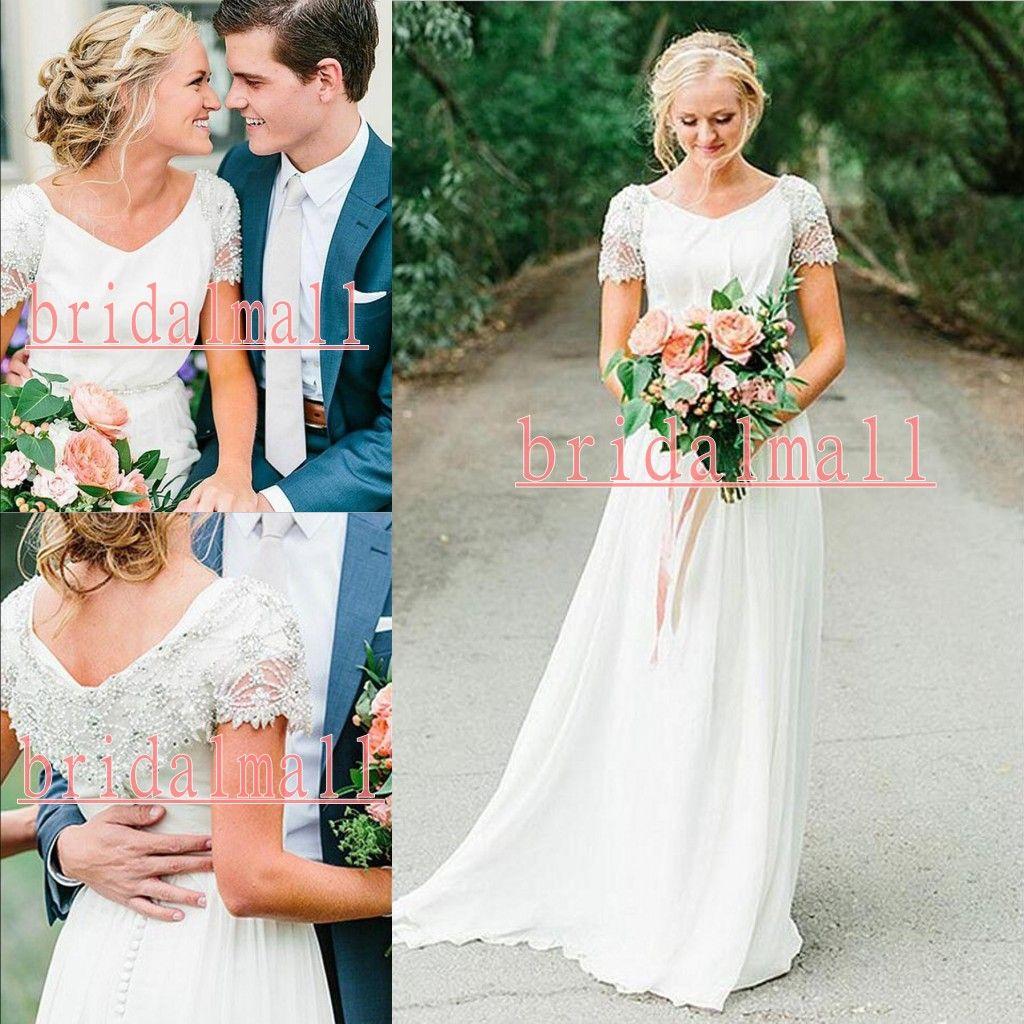 Nova Beading Pérolas Chiffon Praia Boho Vestidos de Casamento 2019 Elegante V Neck Garden Country Vestidos de Noiva Barato Mangas Curtas Vestidos De Novia