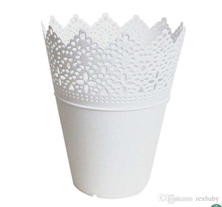 High Grade Floral Hollow Design Flower Vase Solid Color Decorative Home Small Plastic Vase For Wedding Decoration