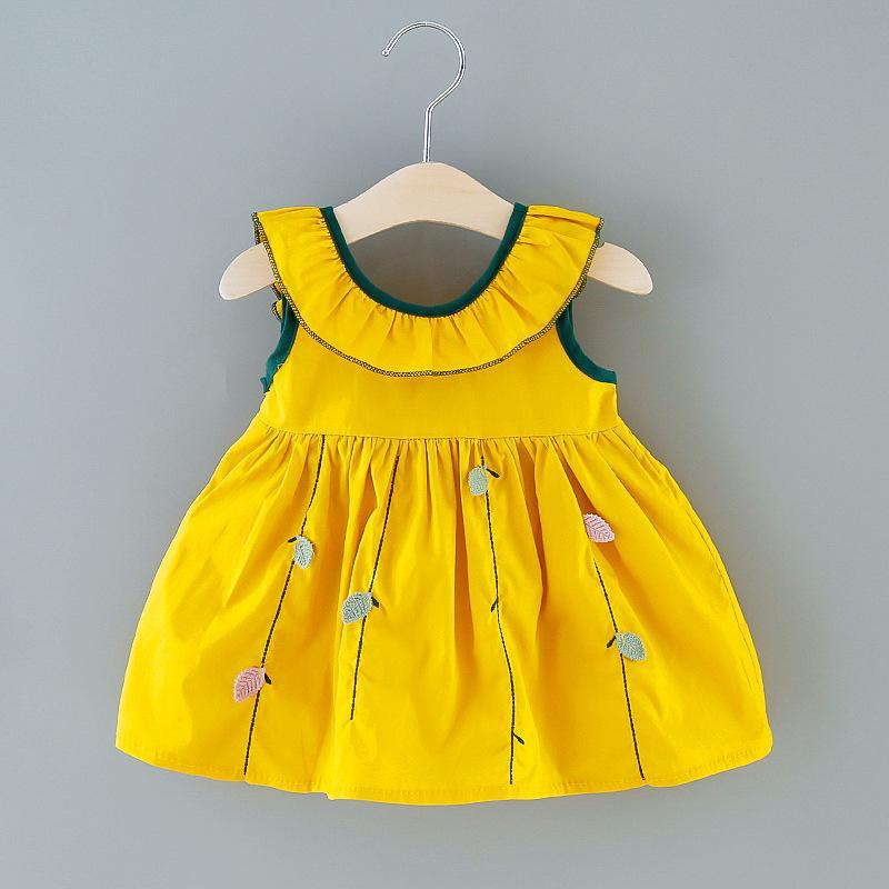 2020 New Baby Girl Одежда Cute мода Сладкой Повседневное лето партии хлопок платье принцесса Листья Вышивка Лук Платье для 0-3Y