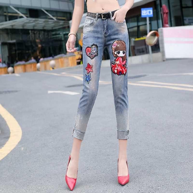 Painted Bronzing Jeans Woman 2020 Spring Autumn Denim Pants New Women Fashion Cartoon Sequins Printing Jeans Femme