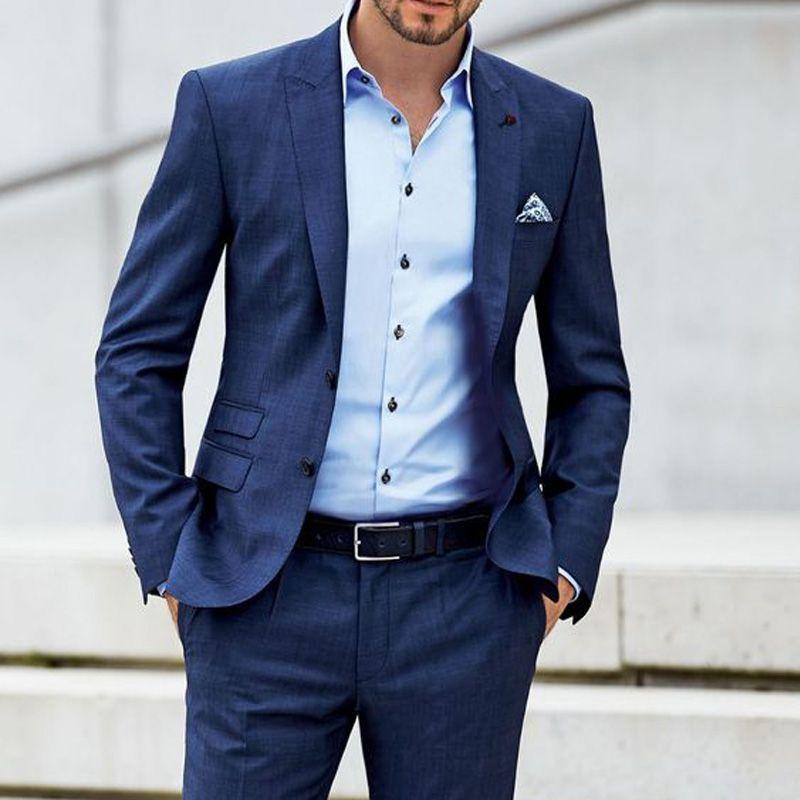 Zweiteilige Männer Anzüge spitzen Revers Bräutigam Hochzeit Smoking Jacket Pants One Button Neueste Körper Blazer