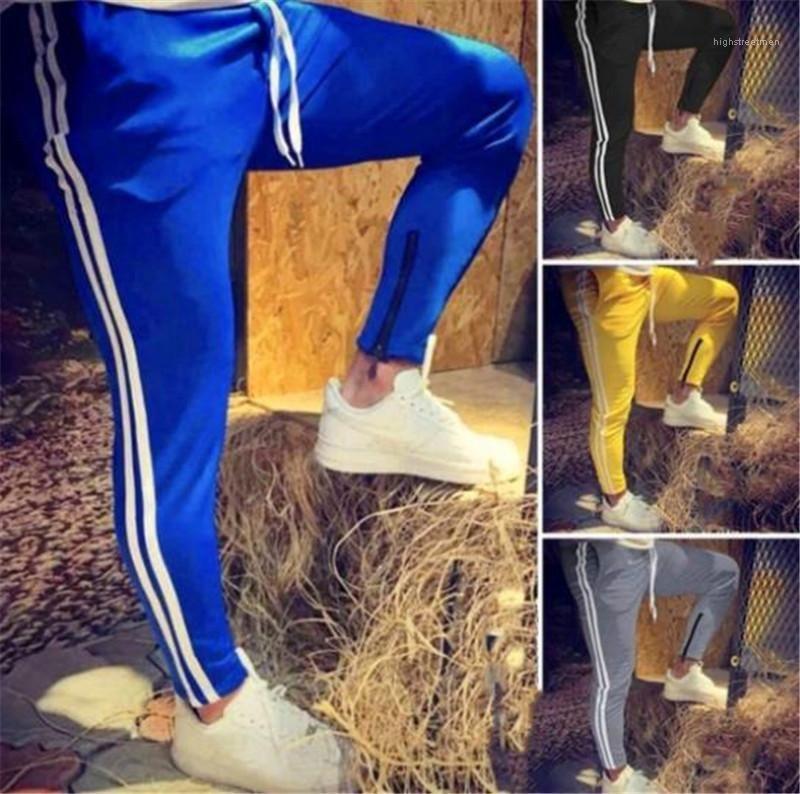 Freizeit-Laufhose Patchwork-Kleid Striped Kontrast-Farben-Männer Hosen Regular Fitness Hose Trend dünner Bleistift-Hosen