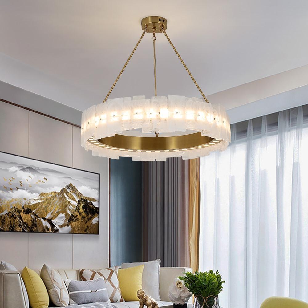 새로운 골드 럭셔리 샹들리에 금속 주방 아일랜드 LED 칩 매트 유리 휴게실 램프로드 조명을 매달려 광택