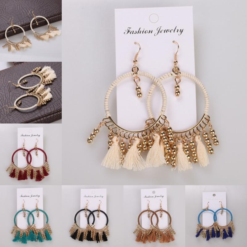 2019 Exaggerated Earrings 7 Styles Large Round Handmade Tassel Earrings Fashion Wrapped Cloth Chain Alloy Hook Earrings For Women M300R