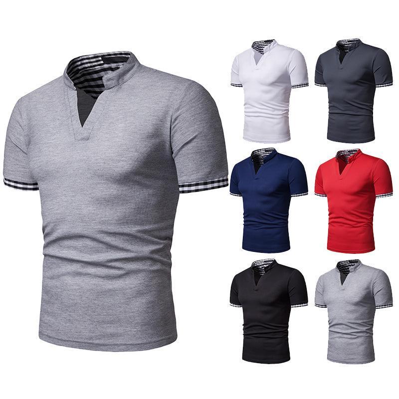 UOMO WEAR 2020 nuovo stile di modo Henry collare plaid colori misti'S MEN manica corta risvolto maglietta D32