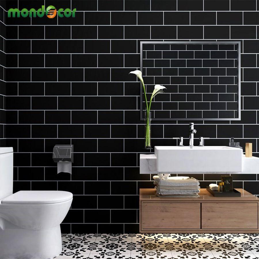 3M / 5M 현대 셀프 접착 타일 벽 스티커 블랙 화이트 벽 종이 롤스 거실 욕실 방수 PVC 비닐 홈 인테리어 T200608