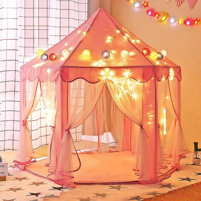 귀여운 육각 극장 소녀 공주 성 어린이 실내 놀이 텐트 아기 공 수영장 티피 텐트 어린이 장난감