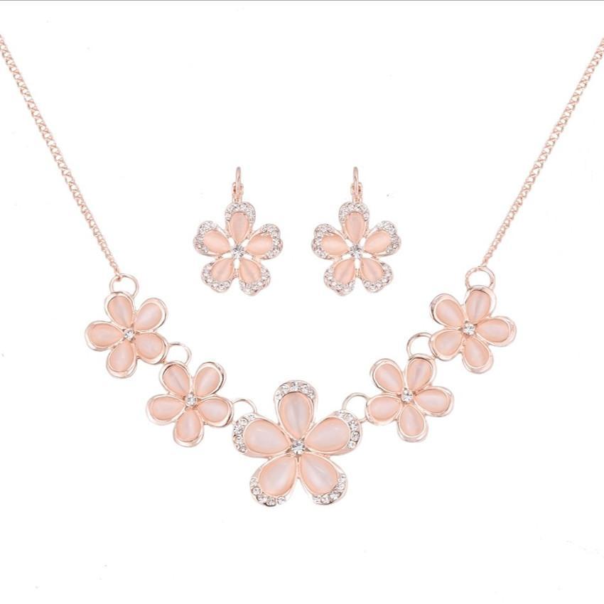 Zarif Kadın Takı Setleri için Toptan 10 adet altın kaplama istiflenebilir Çiçek Kedi Göz Taş kolye kolye Küpe