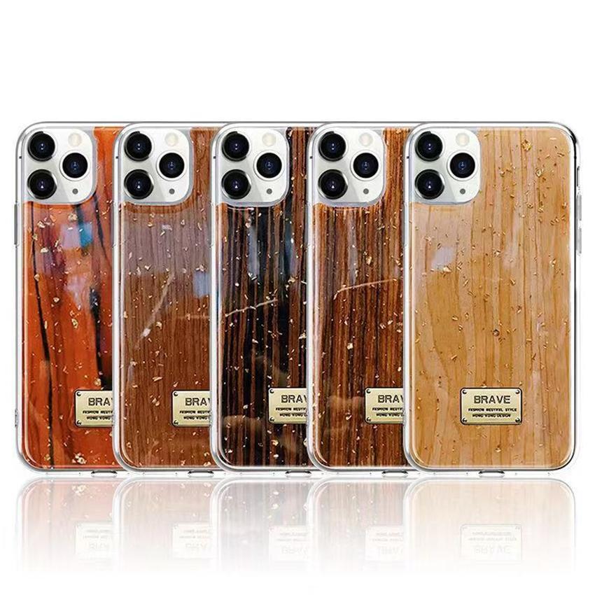 الذهب احباط الخشب نمط الهاتف القضية لفون برو 11 XS ماكس XR X 8 7 6 زائد غطاء سيليكون لينة