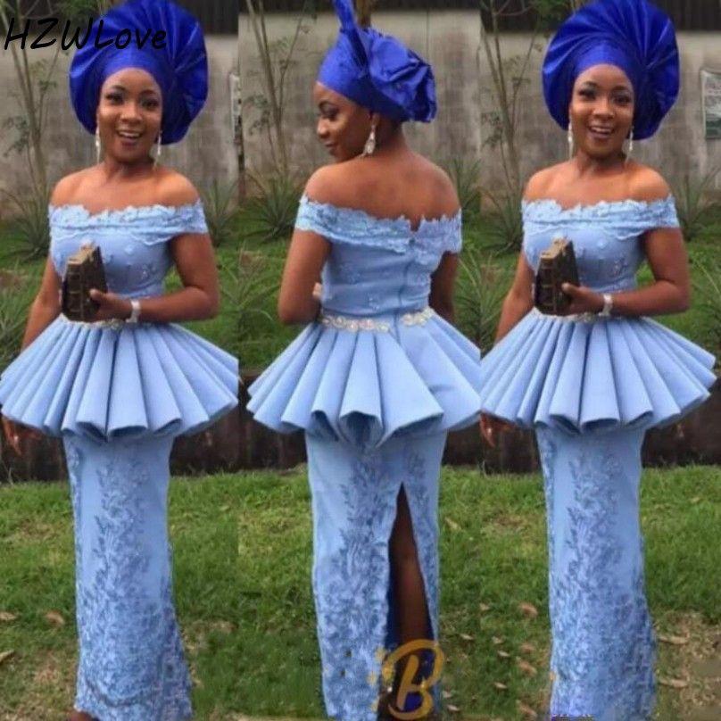 2021 Aso Ebi Estilo Light Blue Evening Mãe do tamanho Noiva Vestidos Além disso o vestido do baile de finalistas do partido fora do ombro com mangas de renda