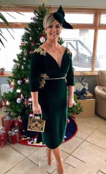 Vert foncé Velet gaine mères robes avec de l'or Appliqued Sash Thé Longueur formelle robes de soirée pas cher 2020