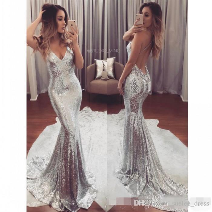 2019 sexy prom dresses backless sirena sparkly argento paillettes senza spalline sweep treno custom made plus size abiti da sera lunghi del partito