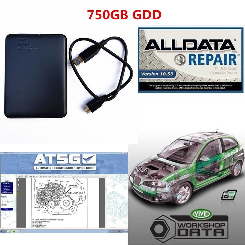 2019 Alldata auto Repair программное обеспечение все данные v10.53 + atsg + яркий семинар с 750GB новый жесткий диск Бесплатная доставка