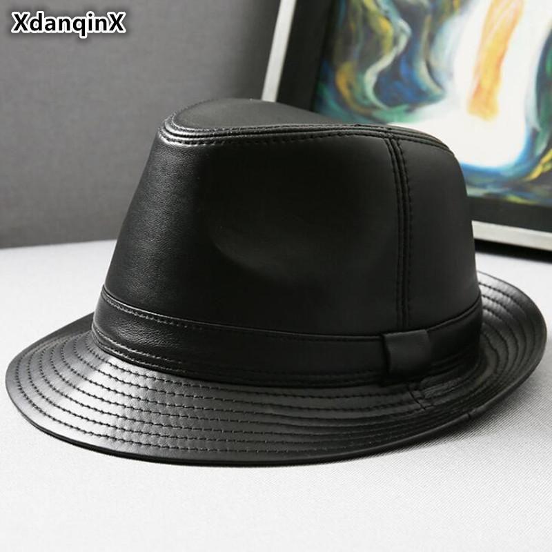 Pelle il cappello di pelle di pecora Uomini Xdanqinx vera pelle Cappelli Fedoras Autunno Inverno Uomo Jazz Cappelli Fashion Trend Marche pelle TSYNC