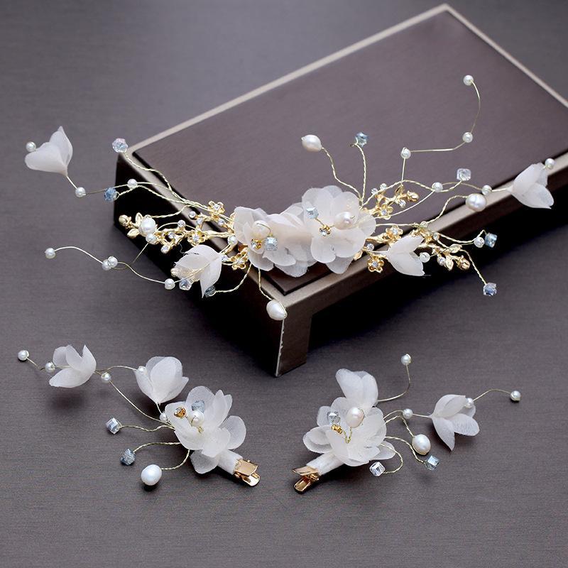 Pasador de flores de crepe blanco Novia Gorros Flor de boda adornos de pelo