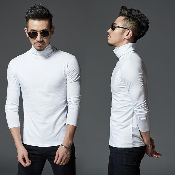 Yeni Tasarımcı Erkek Kış Turtleneck tişörtleri Katı Renk dibe Temel T shirt Uzun kollu Slim Fit TÜM MAÇ Tops