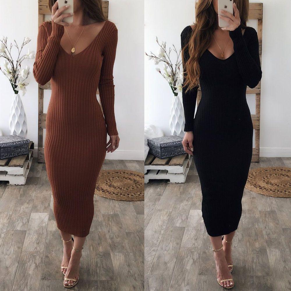 2018 Yeni Moda Sonbahar Kadınlar Bayan Elbise 2 Renkler Uzun Kollu Straplez Kılıf Katı Ayak bileği-Uzunluk Elbise