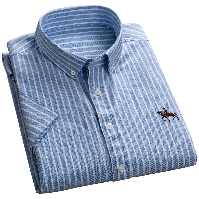 Yaz Yeni Tasarım Kısa Kollu Çizgili Oxford% 100 Saf Pamuk Düğme aşağı Yaka İş Casual Erkek Gömlek Nakış Desen