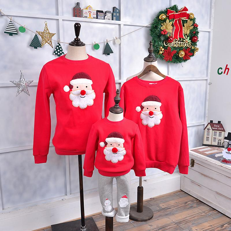 Family Matching Outfits 2018 Winter Christmas Sweater Cute Deer Children Clothing Kid T-shirt Add Wool Warm Family Clothes P003 J190514