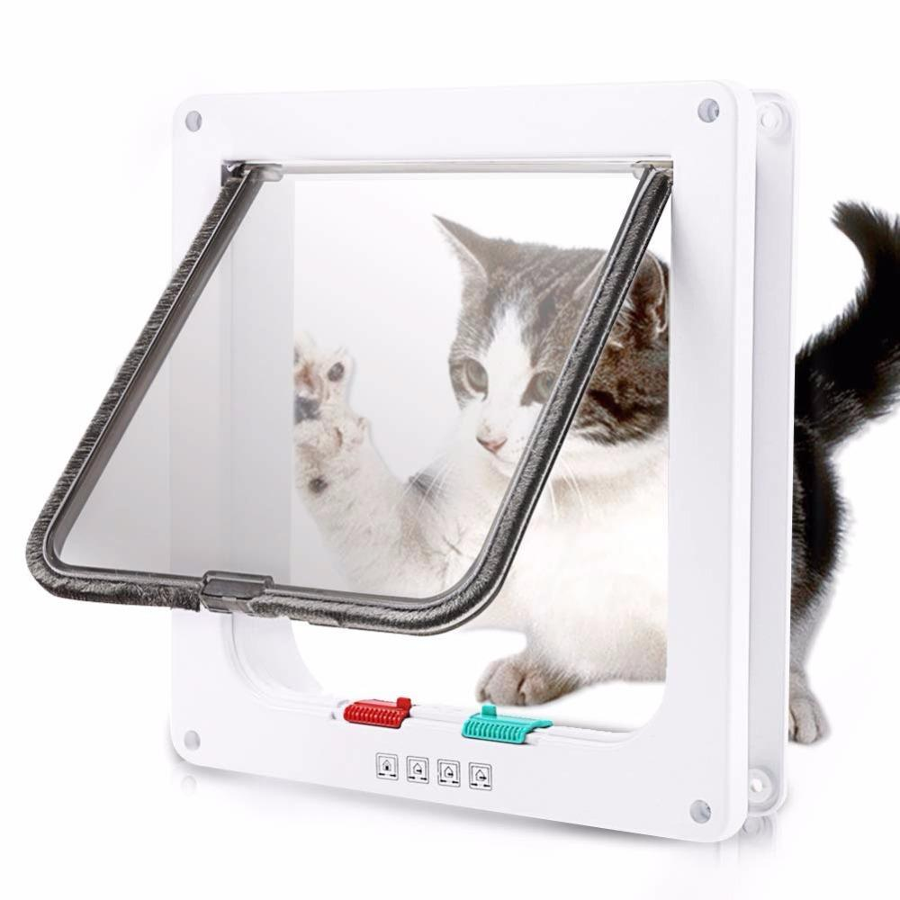 Cat porta basculante com 4 Way Security Lock Flap porta para Kitten Cat Dog Supplies porta de gato pequeno Pet Portão Kit