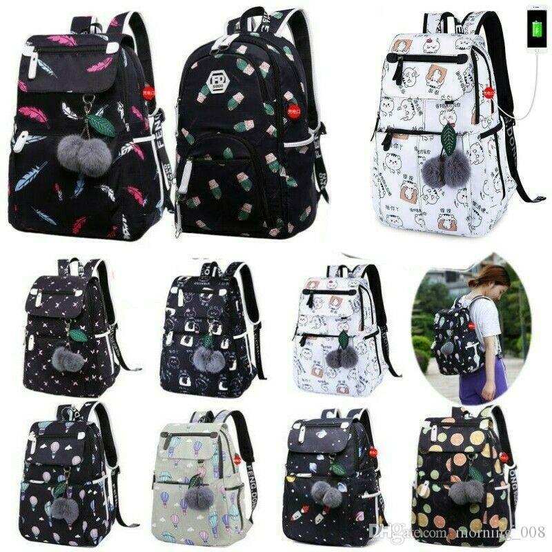 Girls Women College Backpack School Bag Work Travel Waterproof Zipper Laptop Bags Casual Rucksack with USB Charging Port Shoulderbag Handbag