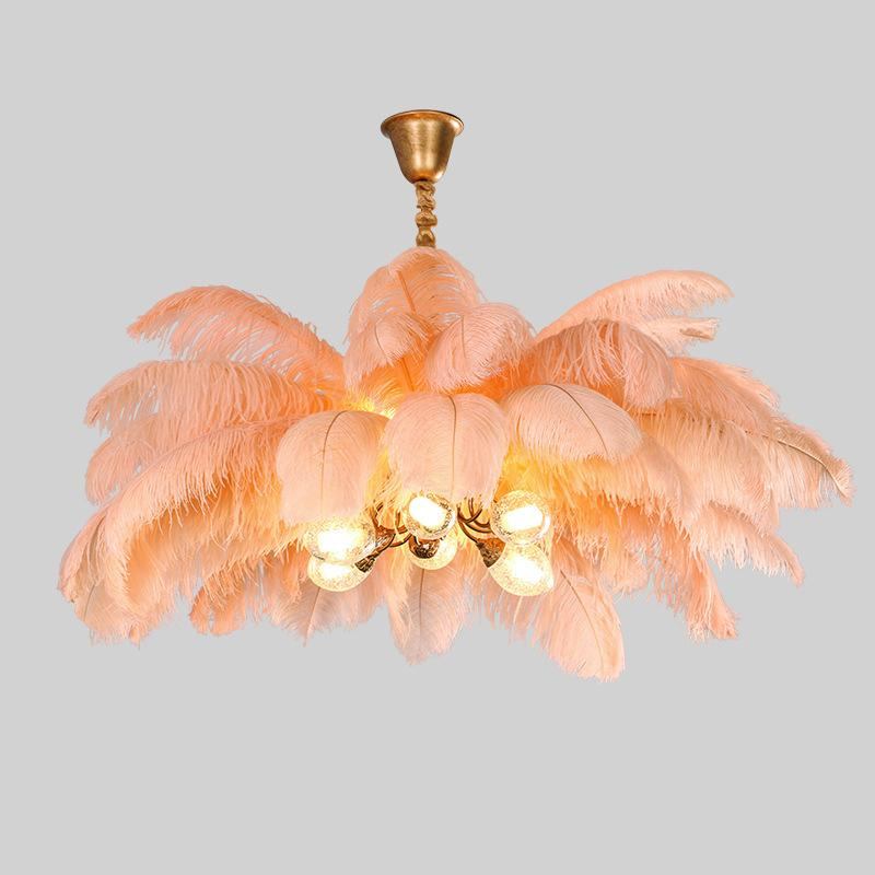 Post-modern ostrich feather chandelier light luxury living room feather suction hanging dual-use lamps princess bedroom INS ligh