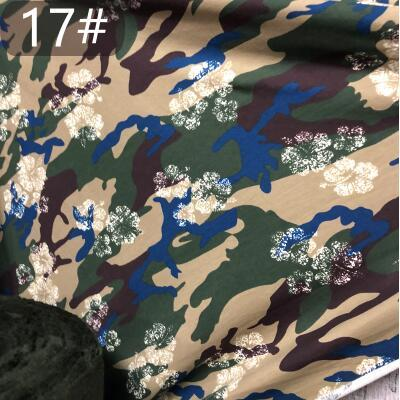 Camouflage 19style 150cm thin cotton elastic knitted patchwork fabric sailor clothing military uniform T-shirt short sleeve textiles C712
