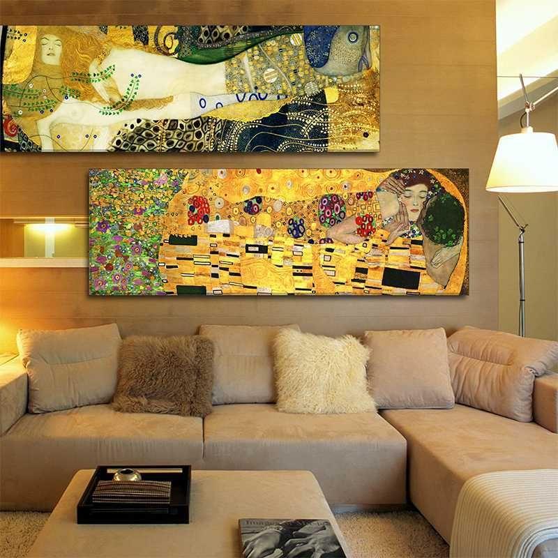 Estilos clássicos Mão decorativa Oil Pintado Pintura beijo Gustav Klimt Abstract Canvas pintura a óleo parede Retrato para Home Decor