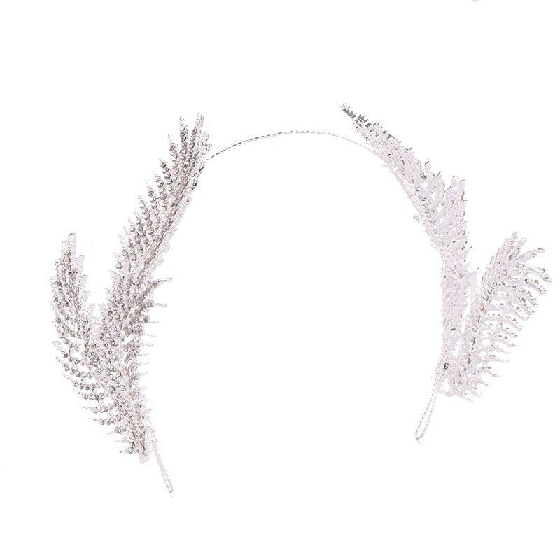 Fashion Silver Rhinestone Feather Headband Headdress Bride Wedding Hair Accessories Party Hair hoop Banquet Hair bands Accessories