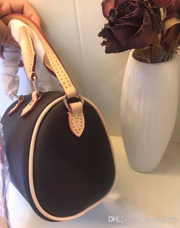 Bucket Fashion Speedy Mini Bag Real Design Bag Bag Bolsos Bolsos Bolsos Crossbody Nano16CM Impresión clásica de la marca de cuero Mujeres Al GSLRK