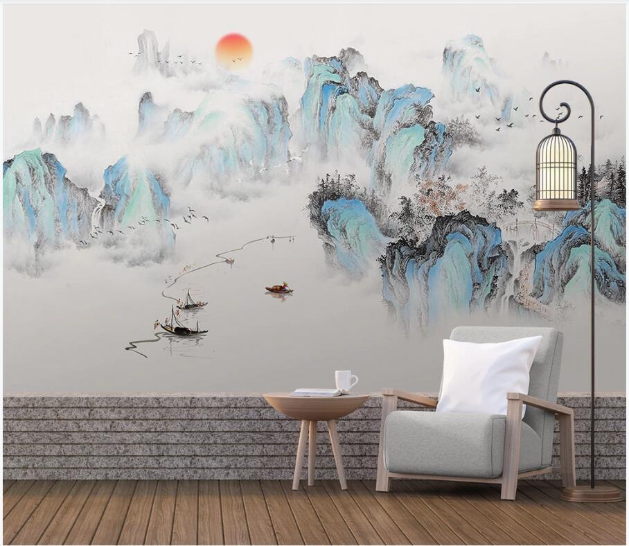 WDBH photo personnalisé 3d papier peint paysage style chinois peinture salon de fond décoration intérieure peintures murales 3d fond d'écran pour les murs 3 d