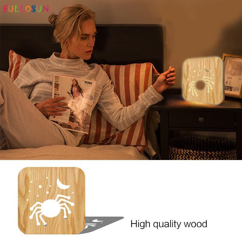 Halloween araignée lumière créative nouvelle lumière 3D LED en bois nuit éclairage de vacances blanc chaud 1 pc