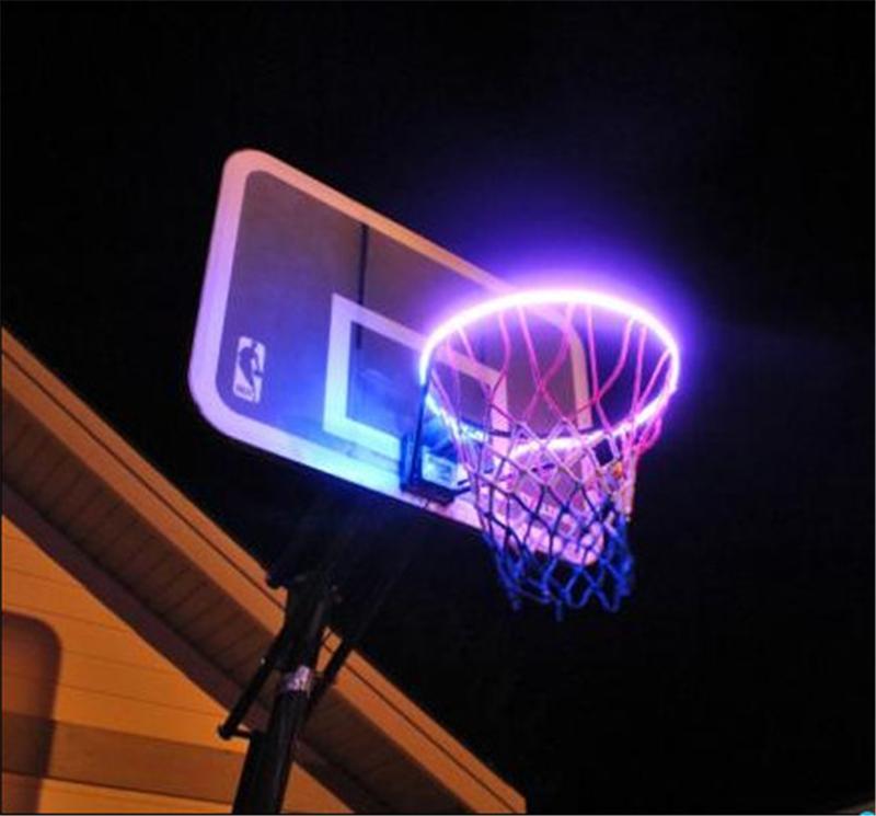 LED 농구 빛 바구니 발광 DIY 태양 광 변색 태양 농구 등 아웃 도어 센서 바구니 빛을 랙