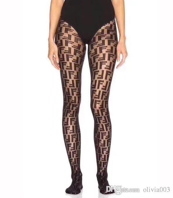 2019 Avec boîte détail complet F longue lettre Chaussettes Collant Europe et en Amérique Transparent Fashion Silk Stockings Sexy pour les femmes 016